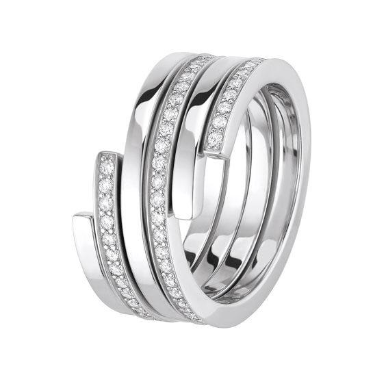 Anillo Spirale Dinh Van en oro blanco y diamantes