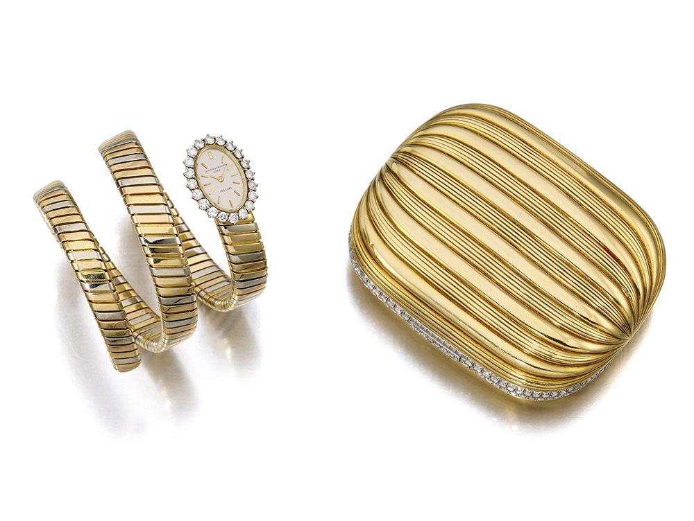 Conjunto de Gina Lollobrigida, reloj pulsera y clutch en oro de Bulgari
