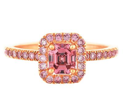 Anillo Aura de De Beers en oro y diamante rosa