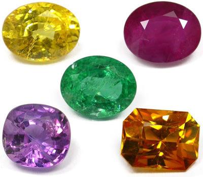 Los colores de las piedras preciosas