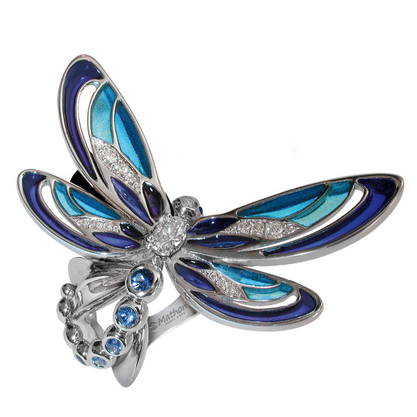 Demoiselle anillo de Mathon en esmalte, zafiro azul y diamantes.