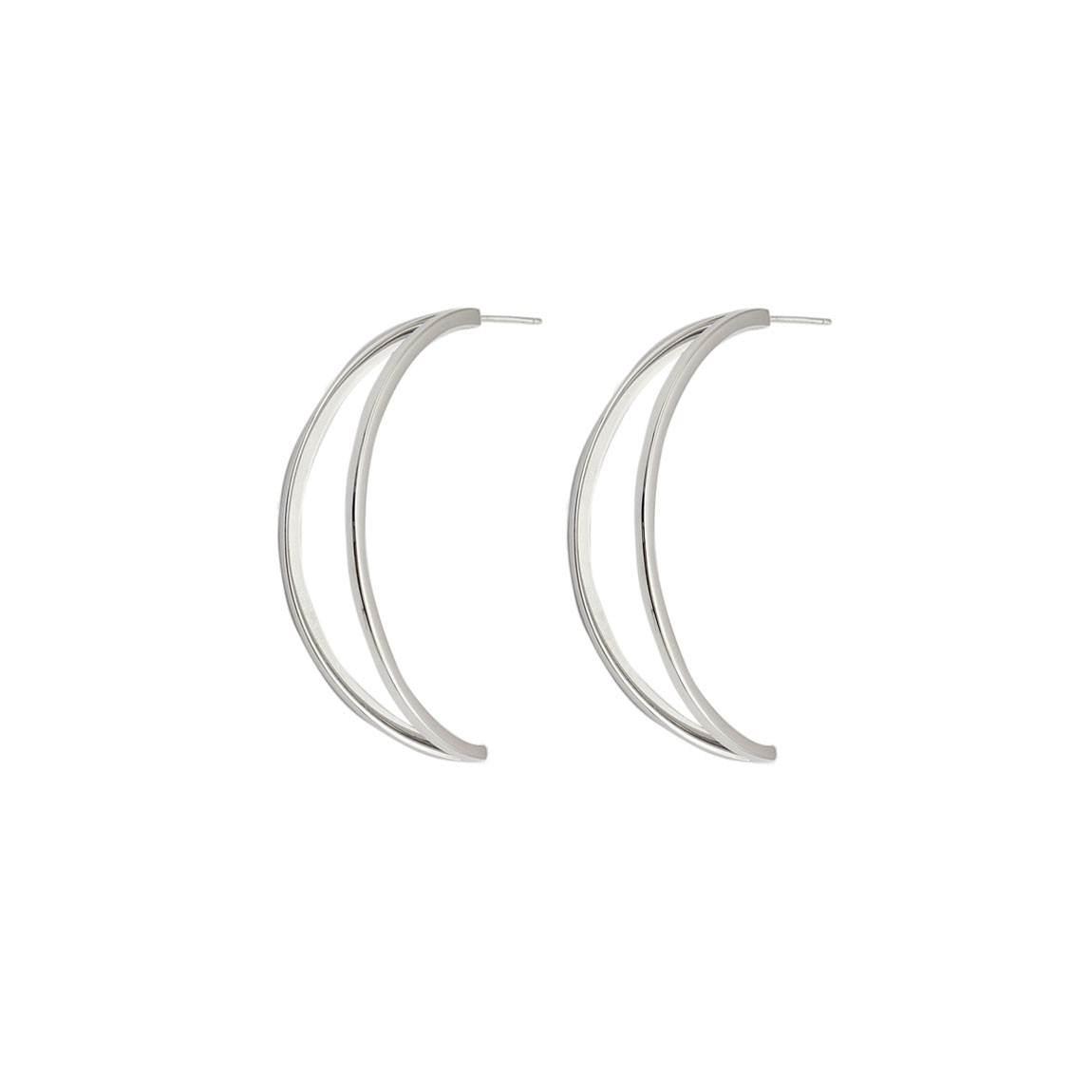 Pendientes Planetaria de Lara Bohinc, semiluna en plata de ley