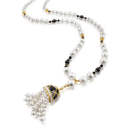 Brazalete Tassel con perlas cultivadas del Mar del Sur, Perlas Akoya, espinelas negras, diamantes y oro