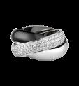 Anillo Trinity de Cartier blanco y negro con oro blanco, diamantes y cerámica negra