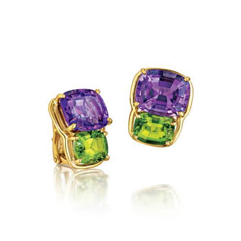 Pendientes clip Two Stone con amatistas, peridoto y oro