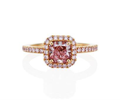 Anillo Solitario Aura en oro y diamantes rosa De Beers