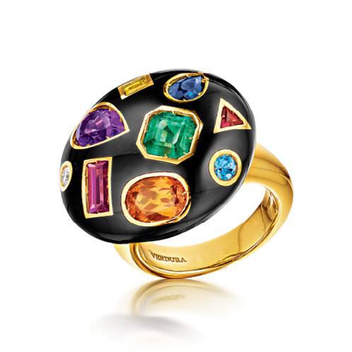 Anillo Fulco Verdura 2013 con gemas de colores, esmalte negro y oro