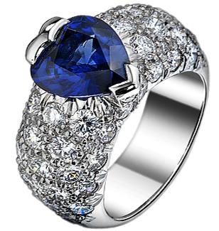 Anillo Limelight de Piaget con zafiro talla corazón y diamantes