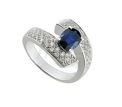 Anillo Azul en diamantes y oro blanco de Princesse Diamants