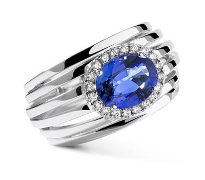 Anillo Lepage en zafiro azul oro blanco y diamantes