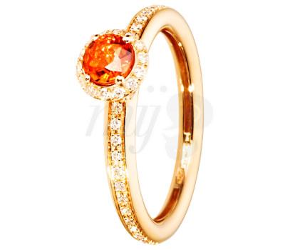 Anillo de Zafiro Naranja y diamantes en oro rosa de Renésim