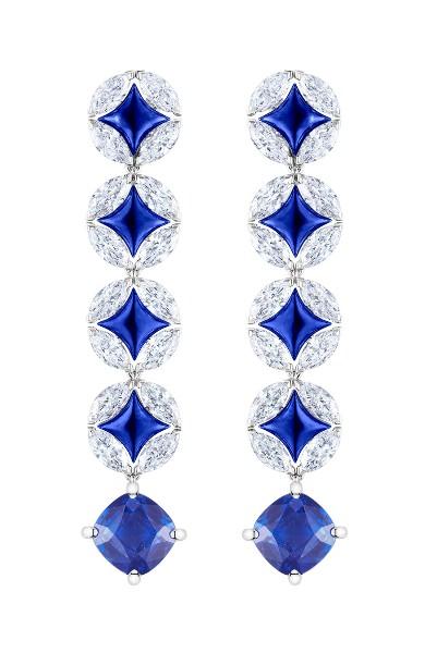Pendientes Galaxie  Louis Vuitton Voyage dans le Temps en oro, diamantes y esmalte azul