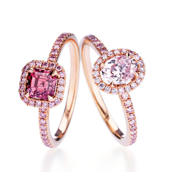 Anillos Solitario Aura en oro y diamantes rosa De Beers