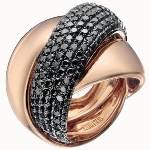 Sortija Cruzada Suárez en oro rosa y diamantes negros