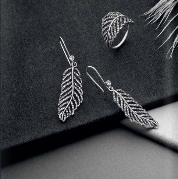 Conjunto Feather Pandora Otoño-Invierno 2013 en plata de ley y circonitas en pavé