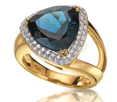 Sortija topacio azul y oro amarillo con diamantes de H.Gringoire