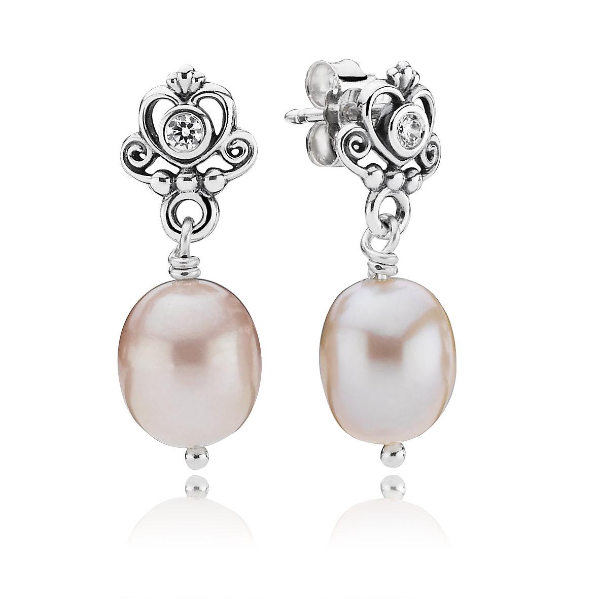Pendientes Pandora Romance en plata y perlas de río cultivadas