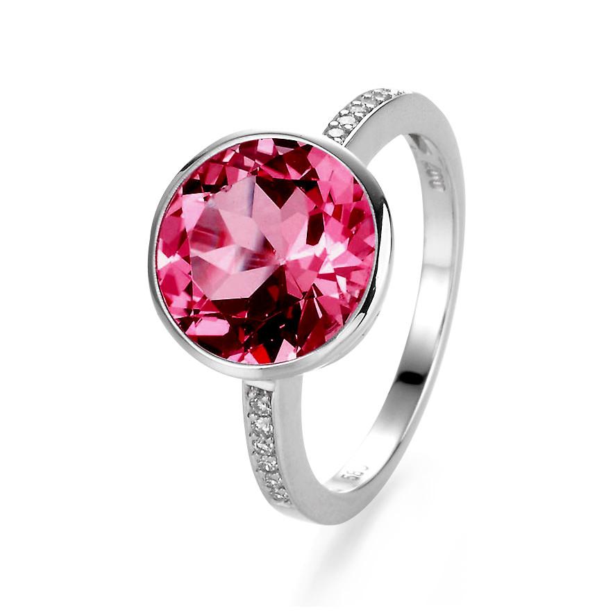 Anillo MelanieJuwel en oro blanco con rubí y diamantes de 21Diamonds