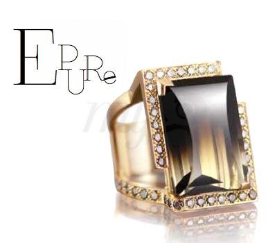 Sortija Épure Soann en cuarzo ahumado, oro amarillo y diamantes tostados