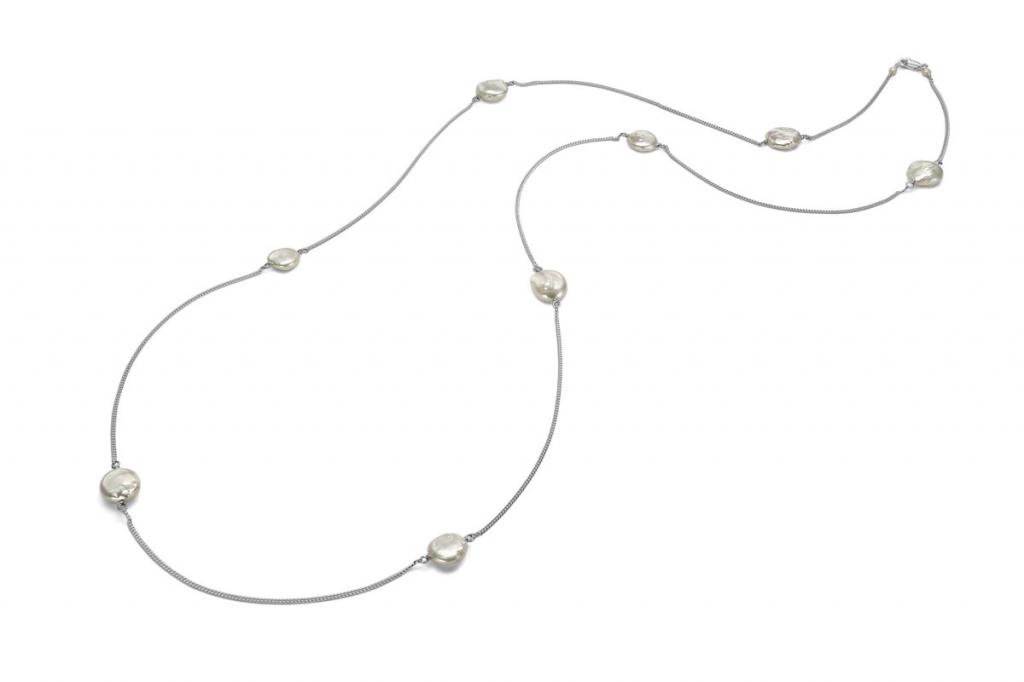 collar largo cadena perla moneda