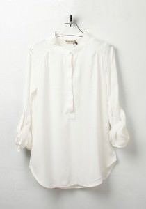 white-plain-round-neck-seven-s-sleeve-chiffon-blouse