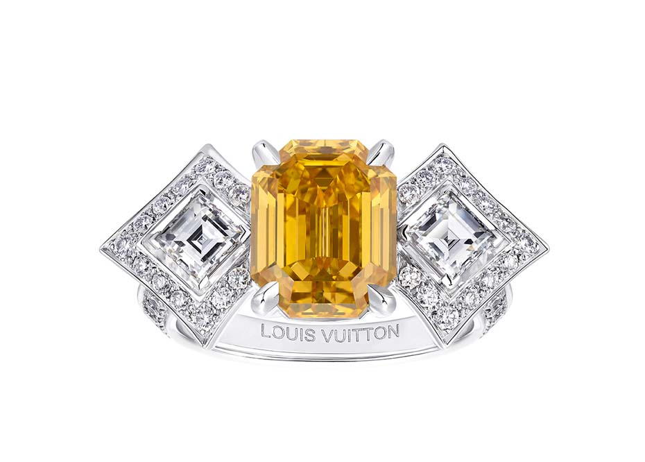 anillo Genesis Louis Vuitton Acte V diamante naranja-central-diamantes-esmeralda-brillantes