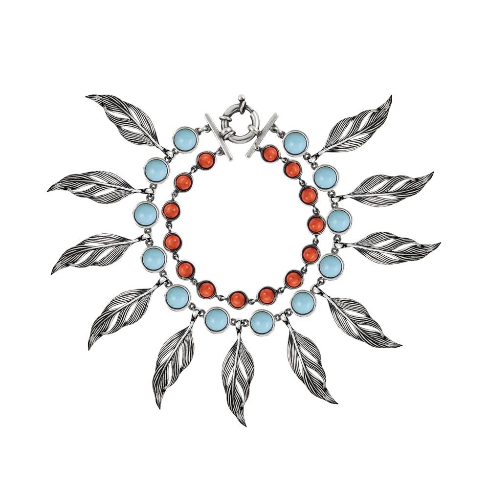 pulsera-aristocrazy-plumas-piedra-plataley-turquesaecologica-conchacoral-549euros