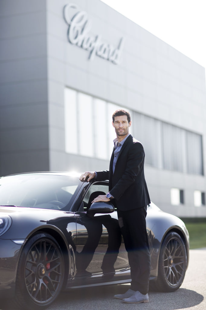 Mark Webber in front of the Chopard Manufacture ®Johann Sauty-Chopard