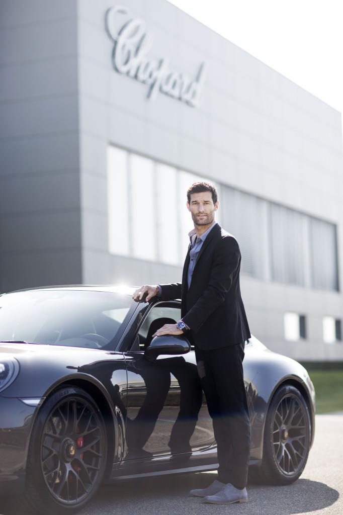 Mark Webber in front of the Chopard Manufacture ®Johann Sauty-Chopard